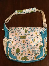 JANSPORT Turquoise Floral College Full Size Messenger Shoulder Laptop ba... - $38.92 CAD