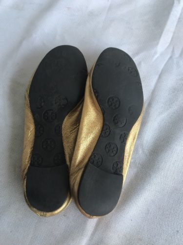 Worn TORY BURCH Reva  Gold  Leather Ballet Flats Shoes  Sz 7M