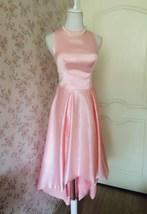 Vintage Blush Pink Taffeta High Low  Prom Dress Blush Sleeveless Wedding Dresses image 1