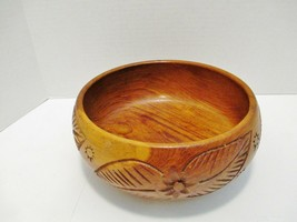 "Wood Serving Bowl Hand Carved Floral Leaf Pattern 9"" diameter x 4"" tall - $39.20"