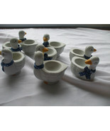 Egg Holder Egg Cup 8 Ceramic Ducks For Boiled Eggs - $49.49