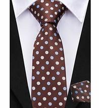 Dubulle Brown Necktie for Boys Self Tie with Dot Hankerchief Regular Tie - $14.36