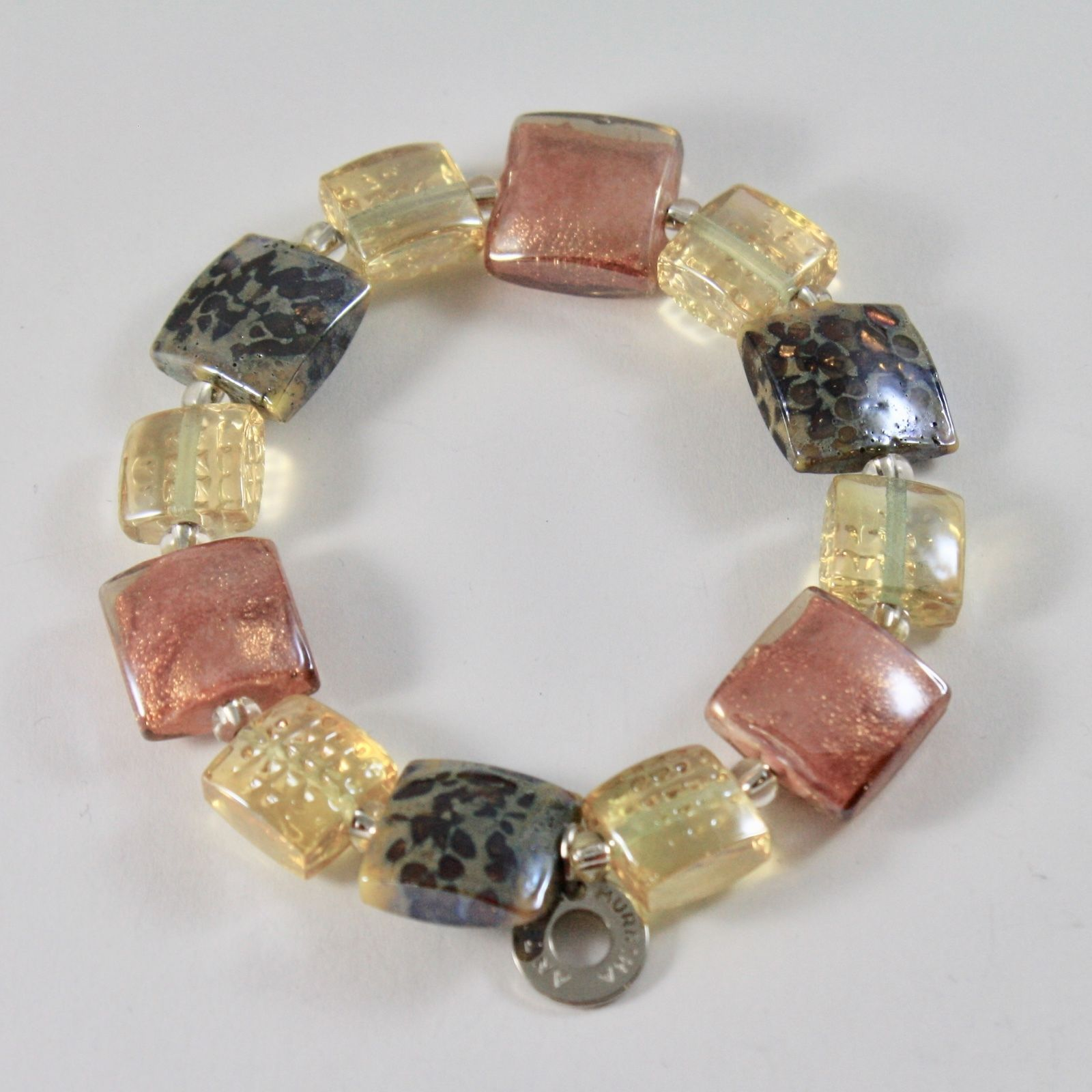 ANTICA MURRINA VENEZIA BRACELET WITH MULTICOLOR MURANO GLASS SQUARES, ORANGE