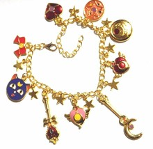 18K Gold Plated Sailor Moon Gold 9 Charm Bracelet in Gift Box w/ Card St... - $12.56