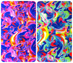Hot Magma Multi-Color Swirl Pattern on Heavy Stretch Nylon Spandex Fabric - $2.96+