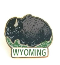 Wyoming Bison Buffalo Gold Tone Enamel Pin WY Animal Souvenir Made in Ca... - $19.50