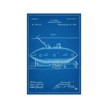 "Submarine Vessel Design 2 - Blueprint Style - Art Print - 36"" tall x 24"" wide - $52.00"
