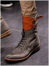 Tan Brown High Ankle Superior Leather Stylish Lace Up Double Buckle Straps Boots - $169.90 - $299.99