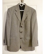Coat Blazer Jacket MENS OAK CREEK DILLARDS Black/Grey 3 Button Silk/Wool... - $14.99