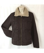 Levi's Denim Jacket Womens Brown Faux Fur Sherpa Collar Zip Front Size L... - $43.03