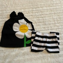 Mudpie Sunflower Summer Dressy Outfit 6-9 Months Black Tank with Stripe Leggings - $9.49