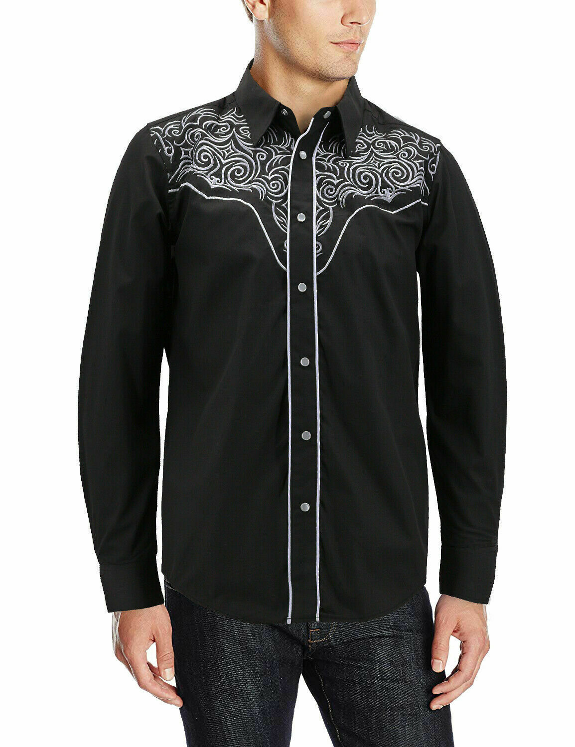 Men's Western Rodeo Style Cowboy Embroidered Tribal Print Dress Shirt w/ Defect