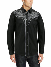Men's Western Rodeo Style Cowboy Embroidered Tribal Print Dress Shirt w/ Defect image 1