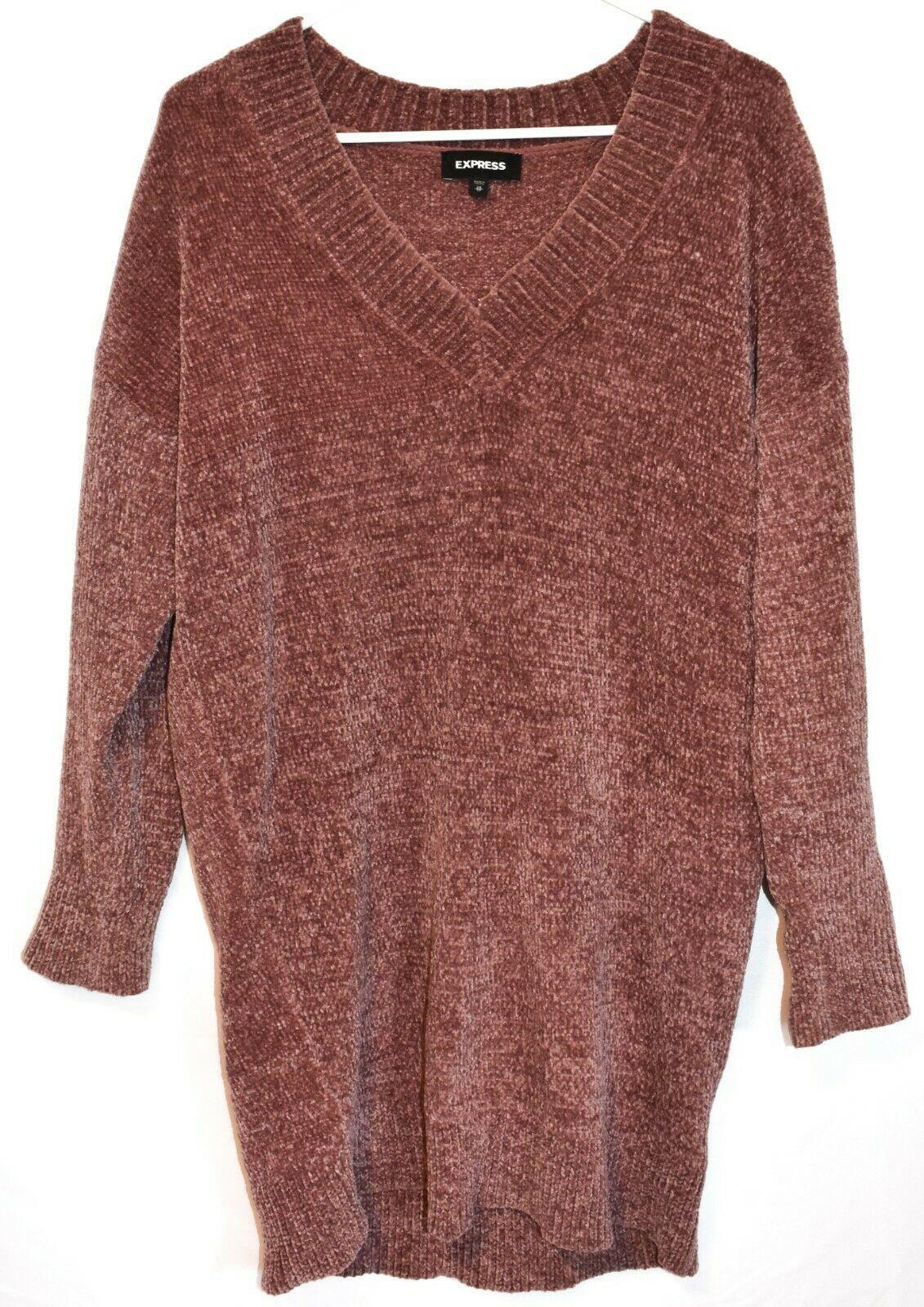 Express Women's Mauve Oversized Chenille V-Neck Knit Sweater Dress Size XS