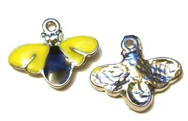 EPOXY BLACK AND YELLOW BUMBLE BEE FINE PEWTER PENDANT CHARM image 2