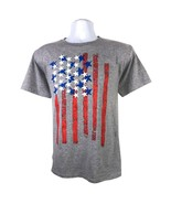 VERTICAL FLAG USA UNISEX YOUTH GRAY T-SHIRT S-XL PATRIOTIC OLYMPICS FREE... - $9.49