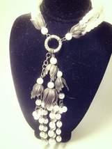 Vintage Triple Strand Faux Pearl Pendant Tassel Necklace, Antique Brass ... - $150.00