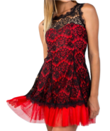 Sleeveless lace contrast tulle hem mini dress - $19.99