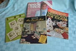 5 Vintage Needle Craft 'How To', Pattern & Singer Home Design, country M... - $9.65
