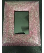 """Photo Frame Antiqued Purple & Silver Stamped Metal Cynthia Rowley 4"""" X 6... - $9.89"""