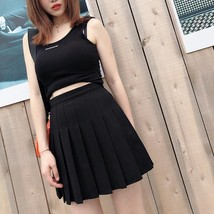 Women Girls Black Pleated Skirt Plus Size Black Pleated Mini Skirt Tennis Skirt image 1