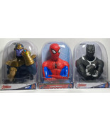 Spiderman, Thanos & Black Panther coin bank Set Of 3 NIB Avengers Marvel D2 - $29.02
