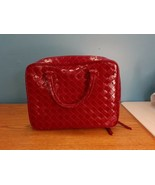 Estee Lauder Faux Leather RED Handbag/Purse /Makeup bag Burgundy Diamon... - $15.79