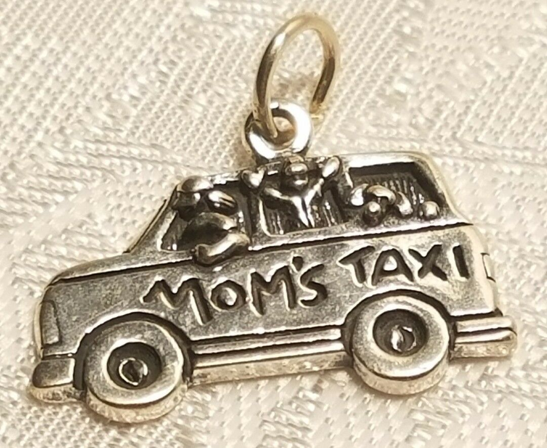 Mom's Taxi Sterling Silver Charm  STAMPED .925
