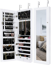 Greenco Over The Door Organizer Armoire With Large Mirror And Led Light,... - $169.88