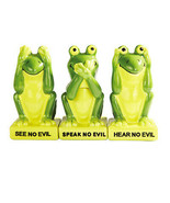 Green Frogs Froggy See Hear Speak no Evil Salt Pepper Shakers & Toothpic... - $17.81