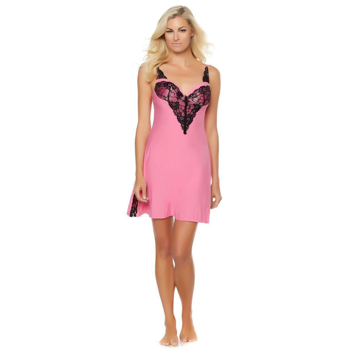 Rhonda Shear Molded Cup Solid Chemise with Lace Detail (HSN 561462) image 5