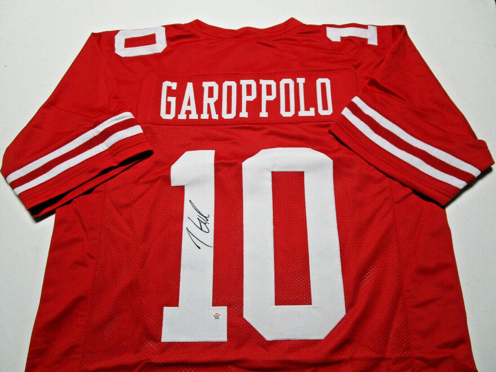 JIMMY GAROPPOLO / AUTOGRAPHED SAN FRANCISCO 49ERS CUSTOM FOOTBALL JERSEY / COA