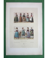 COSTUME of Switzerland Women & Girls - COLOR Litho Antique Print A. Racinet - $12.15