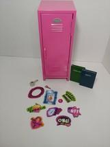 Schyilling pink metal Doll locker Girl talk magnets + doll school books ... - $12.86
