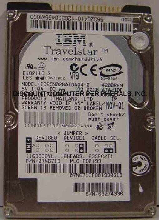 """20GB 2.5"""" 9.5mm IDE 44pin Hard Drive IBM IC25N020ATDA04-0 Tested Free USA Ship"""
