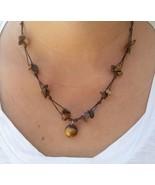 Fair Trade Tigers Eye Beaded Waxed Cotton Pendant NECKLACE Thai Jewelry - $8.43