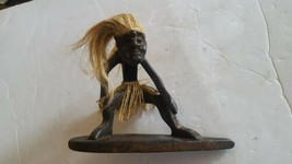 Vintage Hand Carved Tiki Surf Surfing Dude Guy Man Figure - $34.64
