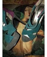 NINE WEST Adorable Teal Blue+Purple Suede Shoes Size 9 1/2 - $17.82