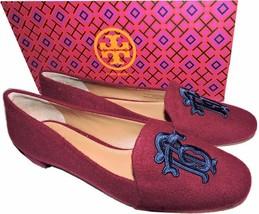 dbd93a9767 Tory Burch Antonia Monogram Loafer Ballet Flats Ballerina Shoe Burgundy  Blue 7.5 - $129.00