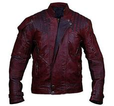 Guadians Of Galaxy Vol 2 Star Lord Peter Quill Distressed Maroon Leather Jacket image 1