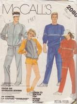 McCALL'S VINTAGE 1985 PATTERN 2080 SIZE LG 40/42 UNISEX SWEAT SUIT - $3.90