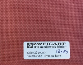 "Zweigart's Oslo Fabric 22 Count Fat Quarter 18"" x 27"" Cross Stitch Even Weave - $12.75"