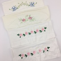 Vintage Embroidered Pillowcases Lot Floral Flower Bird Roses Cross Stitc... - $24.70
