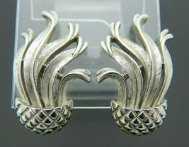 Crown Trifari Silver Tone Jelly Fish Pineapple Modernist Clip Earrings Vintage - $49.49