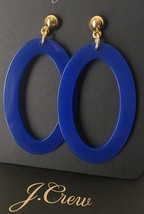NWT J.Crew 100% Authentic Brilliant Sapphire Oval Swing Drop EARRINGS & Dust Bag - $24.84