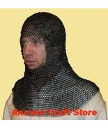 Butted Chain-mail Hood (Round-neck) Blackend Coif re-enactment / larp / role-pla - $98.01