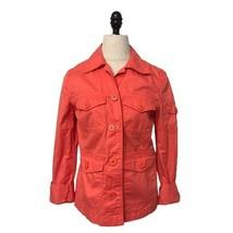 J. Crew Orange Utility Zip Long Sleeve Jacket Womens safari size XS coat - $14.84