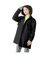 Hooded  Women's Wind & Waterproof Trench Rain Jacket-Black-XXL - $93.93