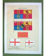 FLAGS England Prince of Wales Royal Standard Admiral - 1899 Color Litho ... - $16.20