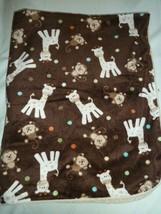 Just Born Monkey Giraffe Baby Blanket Brown Velour Tan Sherpa Lovie Lovey - $26.67